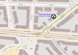 Stadtplanausschnitt mit der eingezeichneten Lage der Praxis